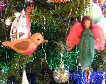Felted Christmas Tree Decorations - 2 ornaments, a robin and a holly fairy