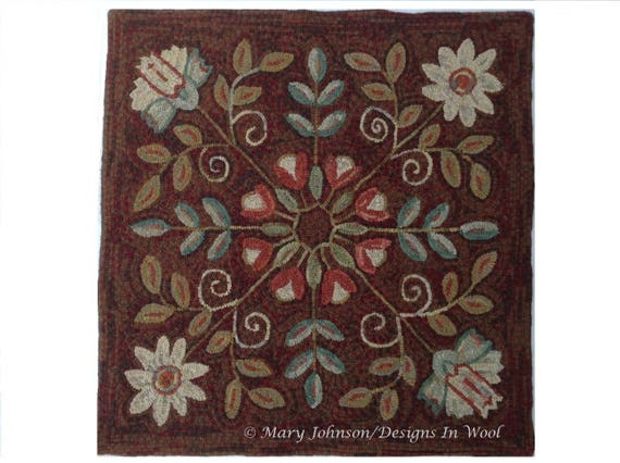 """Rug Hooking PATTERN, Four Square Floral 40"""" x 40"""", P123, Primitive Rug Hooking Floral Design, Wide Cut Hooking"""