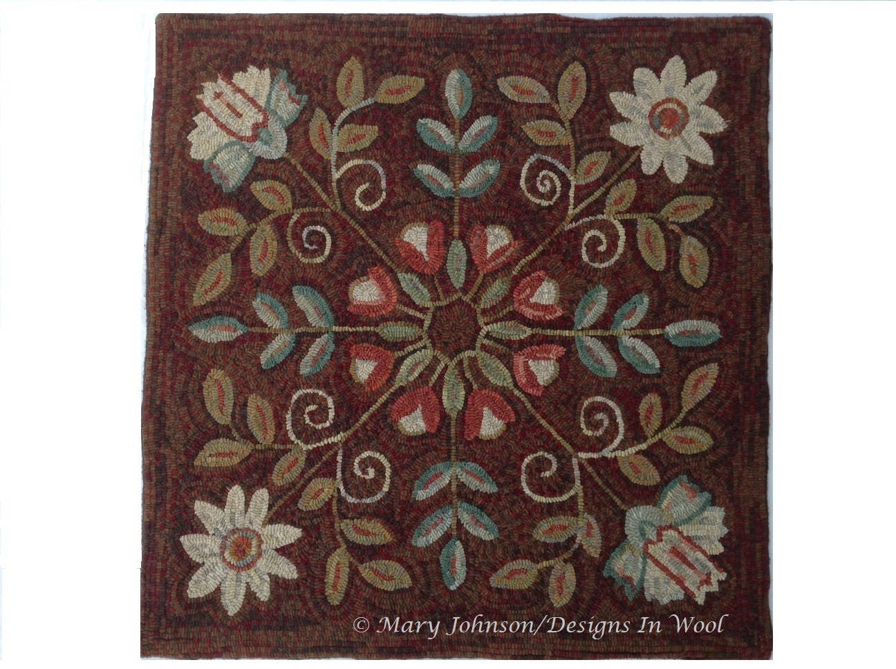 Rug Hooking PATTERN Four Square Floral 40 X 40 P123