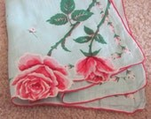 Beautiful Mint Green Pink Floral Cotton Vintage Hankie Handkerchief