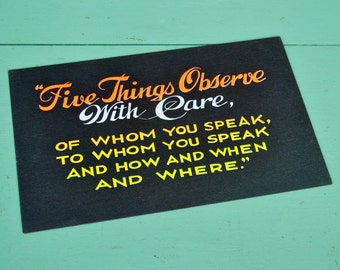 """Vintage Black Neon Sign Social Media Advice Wisdom Speech Quote """"Five Things Observe With Care"""" Poster Yellow Orange Cardstock Paper"""