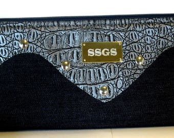 clutch bag gray faux leather blue denim clutch