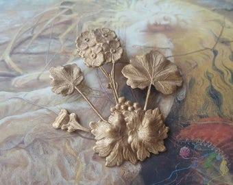 Rare Vintage Nouveau Original Old Brass Floral Bouquet Piece