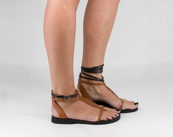 T-strap Sandals, Gladiator Style Sandals, Lace Up or Buckled, Two in One Sandals, Barefoot Thong Sandals - CALI