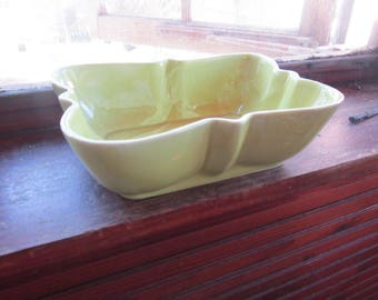 vintage planter lime/acid green pottery planter planters USA pottery