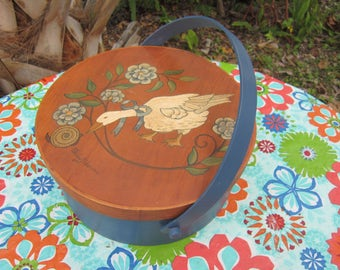 covered round wood box the old drum shop handpainted and signed
