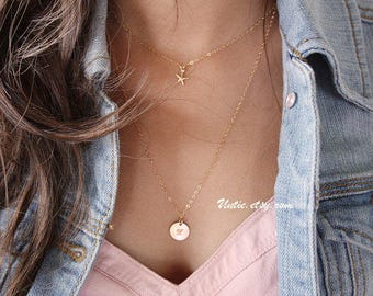 Starfish necklace - 14K gold filled, delicate dainty star layering necklace, short simple necklace, mothers day gifts for mom sister wife