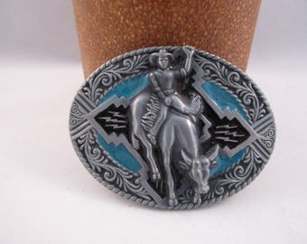 Bull Riding Belt Buckle. Western Cowboy Rodeo. free US shipping  - FL