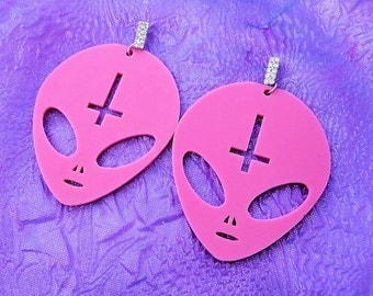 Big Bubblegum Pink ANTICHRIST ALIEN Acrylic Earrings With Rhinestone Earring Posts