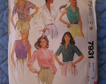 """1982 McCall's 7931 Blouse Misses' Miss Size 8 Bust 31 1/2"""" Sewing Pattern"""