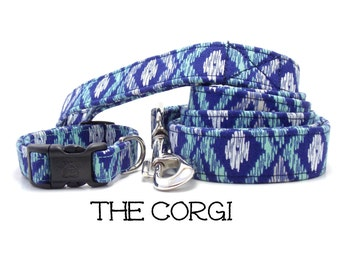 Ikat Dog Collar, The Corgi, Blue and Teal Dog Collar, Diamond Dog Collar, Cute Dog Collar, Dog Gift, Cool Dog Collar (Leash Available)