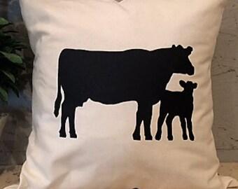 Cow & Calf Pillow Cover - Farm Pillow Cover - Pillow Cover With Cow Calf - Heat Press Vinyl -Throw Pillow - Canvas Pillow