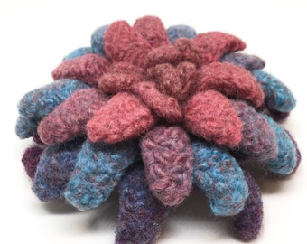 Felted Wool Flower brooch Dahlia in mauve shades of blue and purple
