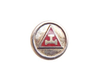 Old Triple Tau Lapel Pin Sterling Silver & Red Enamel Royal Arch Mason Symbol Small Subtle Masonic Collar Button Screw Back w/ Spinner Nut