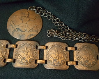 Vintage 1940s Early 1950s Copper Bronze Panel Bracelet And Medallion. Asian Theme. Tiki. Post WWII
