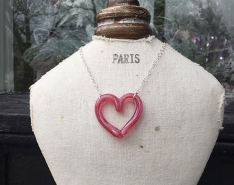 Bubblegum Pink Glass Heart Necklace