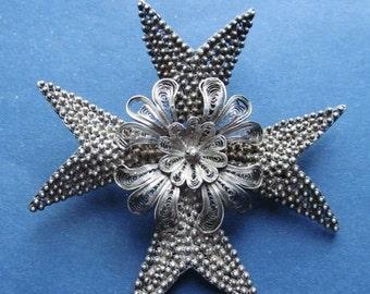 On Sale Antique Silver Filigree Maltese Cross Brooch Pin Jewelry