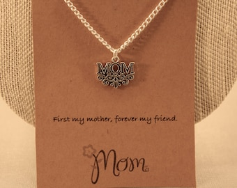 Mom Necklace: First my Mother necklace, Happy Mothers Day, Mom Necklace, Mothers Day, Friendship Necklace