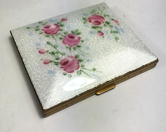 White Guilloche Compact with Hand Painted Pink Roses
