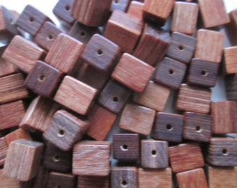 Brown Wood Cube Beads 10x8mm 20 Beads