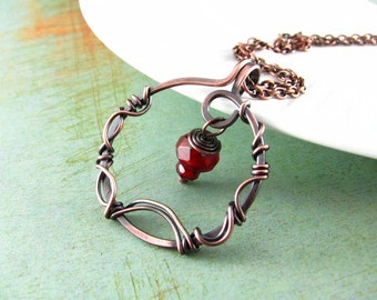 Wire Wrapped Jewelry Copper Jewelry Wire Wrapped Pendant Copper Necklace Red Necklace Wire Wrap Necklace Fairy Necklace