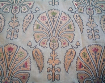 Silk Brocade Fabric Handwoven Gold Metallic Floral Design on Ivory Indian Silk