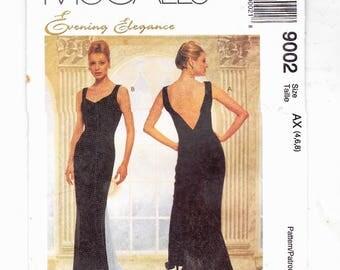 McCall's 9002 Misses Evening Elegance Dress Mini Train Dress With Godet Sizes 4,6,8 Uncut