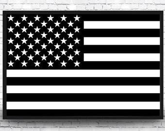 Black and White American Flag Art Print, American Flag Print, Black and White Flag Poster, American Flag Art, American Flag Print, USA Flag