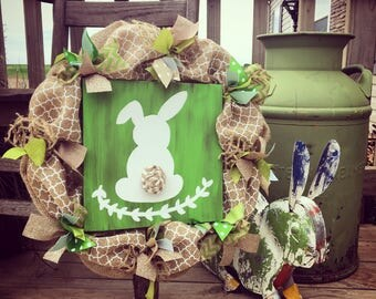 "16"" Burlap Spring Greens Easter Wreath"