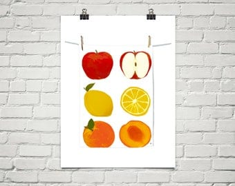 Farmers Market 18x24 Art Poster Giclee Graphic Fruit Kitchen Food Healthy Clothesline Lisa Weedn