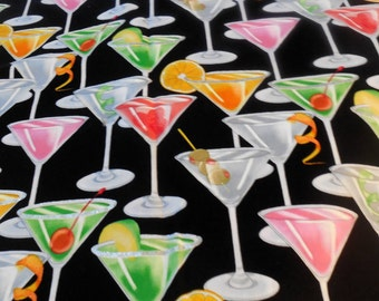 Cocktail, Novelty Fabric-One Yard-Free Shipping