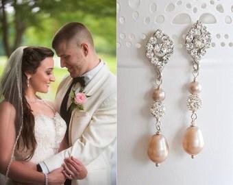 Champagne Bridal Earrings, Vintage Style Oval Crystal & Teardrop Bridal Earrings, Swarovski Pearl Dangle, Art Deco Wedding Jewelry, TACIE