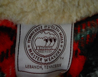 TENNESSEE MILLS Reversible Faux Sherpa Vintage Blanket Red Plaid Acrylic