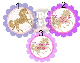 Western Gold Horse Party Theme, Horsy party theme tags, Birthday Horse Tags or cupcake toppers. Pink and Gold Horse Tags. Set of 24.