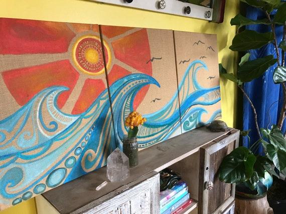 Original on Burlap Triptech Surf Art by Lauren Tannehill