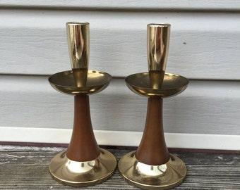 ON SALE Candle Holders Retro Candle Stick Holder Teak Wood