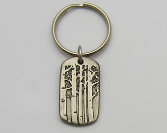 Rustic Metal Aspen Trees Keychain, Aspen Tree Keychain, Handmade Rustic Keychain, Colorado Keychain, Mountain Keychain, Gift for Men, FOB