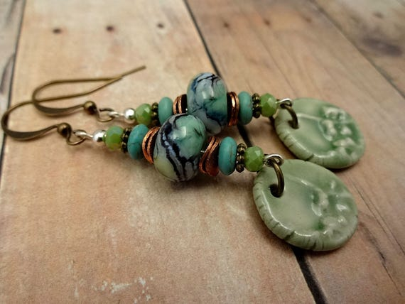 Artisan Made Lampwork Glass and Ceramic Earrings in Blue and Green