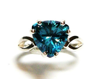 """Topaz, turquoise blue topaz, turquoise topaz ring, blue trillion ring, birthstone ring, blue solitaire ring,  s 6 1/2    """"Twinkle Toes"""""""