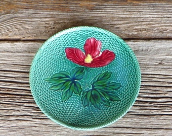Majolica Plate Floral with Basketweave Pattern Made in Germany H D B C Cottage Chic Decor