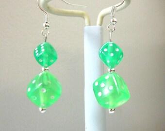 Bunko Green Dice Earrings