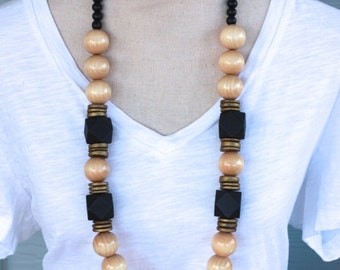 Chunky Wooden Beaded Necklace, Wood Beads, Black, Gold