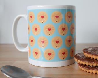 Jammie Dodger - Jammy Dodger Biscuit mug - gift for biscuit lovers - biscuit illustration