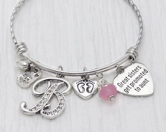 Aunt Bracelet, New Aunt Gift, Bangle Bracelet,Great Sisters Get Promoted to Aunt,Personalized Bangle- Footprint Charm,Pregnancy Reveal Gifts