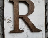 Farmhouse Style R Hanging Wood letter sign- Wall hanging letter READY TO SHIP R