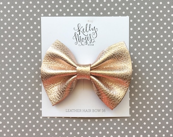 Rose Gold Leather Bow Hair Clip - Large