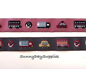 Cars Ribbon, Truck and Toys Ribbon, Embroidered, Made in Spain, 3/4 in wide, 1 Yard, Wired, European Cars, England, Dusty Rose and Gray Blue