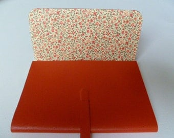 Leather Journal Leather Notebook Travel Journal Leather Book Bright Orange Leather with a Beautiful Floral Paper Lining.