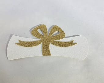 12 Glitter Diploma Die Cuts //  Large Graduation Diploma Centerpieces // 2017 // Party Decorations // Grad // Prom // 12 pieces // 4 inches