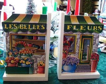 bookends, Schildkraut flower shop bookends, E & B Giftware bookends